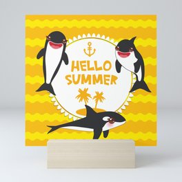 Hello Summer, Kawaii orca Mini Art Print