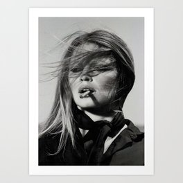 Brigitte Bardot Smoking a Cigarette, Black and White Photograph Art Print