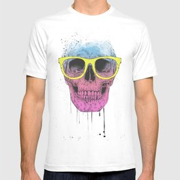 Pop art skull with glasses T-shirt