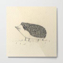 Monochrome Hedgehog Metal Print