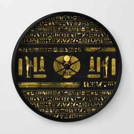 Golden Egyptian Scarab Ornament  on black leather Wall Clock