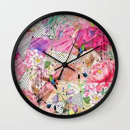 Nature flowery geometric with birds Wall Clock