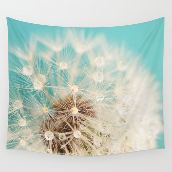 dandelion with waterdrops Wall Tapestry