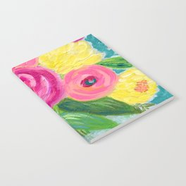 Bouquet of Flowers, Pink and Yellow Flowers, Painting Flowers in Vase Notebook