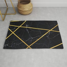 Black marble with gold lines Rug