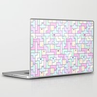 kawaii Laptop & iPad Skins featuring Kawaii Tetris by KiraKiraDoodles