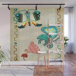 Zuni Butterfly Folk Art 2 Wall Mural