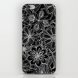 Floral Pattern Black and White iPhone Skin