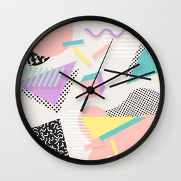 80s / 90s RETRO ABSTRACT PASTEL SHAPE PATTERN Wall Clock