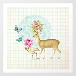 Deer rose Art Print