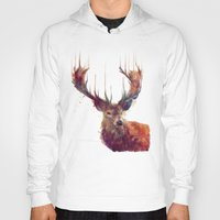 painting Hoodies featuring Red Deer // Stag by Amy Hamilton