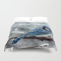 jay fleck Duvet Covers featuring Blue Jay by Ben Geiger
