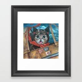 Lil Bub Takes Flight, cute cat art, oil painting portrait, flying plane in sky, kitty, kitten Framed Art Print
