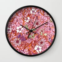 Daisy and Bellflower pattern, pink Wall Clock