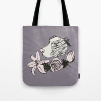 pitbull Tote Bags featuring Majestic Pitbull by Carrillo Art Studio