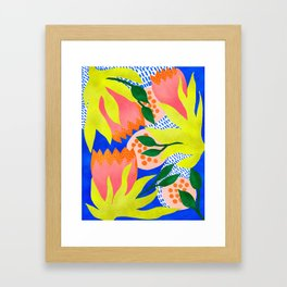 Bold Flower Pattern Blue Background Framed Art Print
