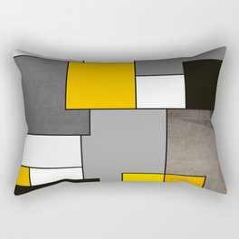 Black Yellow and Gray Geometric Art Rectangular Pillow
