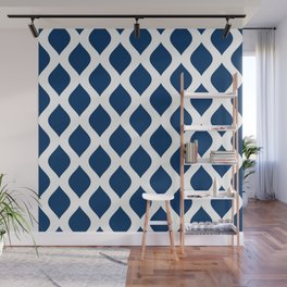 Dark blue and white curved lines pattern Wall Mural