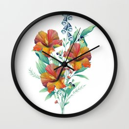 Hibiscus Bouquet Wall Clock