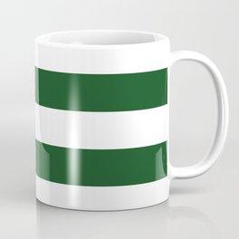 Jumbo Forest Green and White Rustic Horizontal Cabana Stripes Coffee Mug
