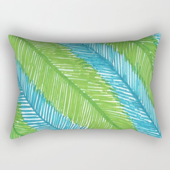 Blue and Green Palm Leaves Rectangular Pillow