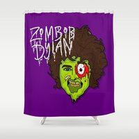 dylan Shower Curtains featuring ZomBob Dylan by Chelsea Herrick