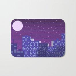 Purple Pixel City Bath Mat