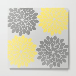 Big Grey and Yellow Flowers Metal Print