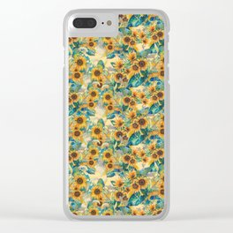 watercolor sun flowers garden Clear iPhone Case