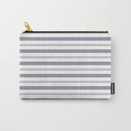 Pantone Lilac Gray and White Stripes, Wide and Narrow Horizontal Line Pattern Carry-All Pouch