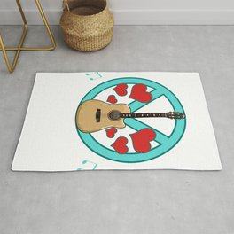 Peace Love Music Awesome Hippie Pacifist Festival Rug