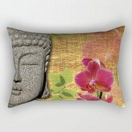 Calm & Relaxing Buddha & Orchids Rectangular Pillow