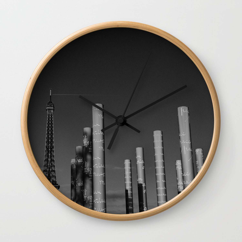 Photo Noir Et Blanc Design paris en noir et blanc tour eiffel wall clock