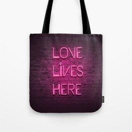 Love Lives Here (Magenta) Tote Bag