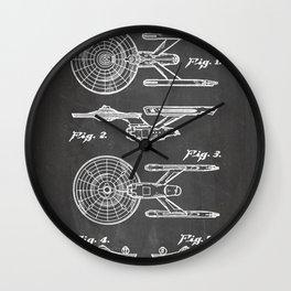 Startrek Uss Enterprise Patent - Trek Art - Black Chalkboard Wall Clock