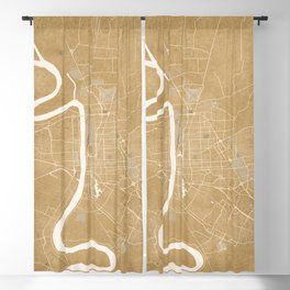 Vintage map of Baton Rouge Louisiana in sepia Blackout Curtain
