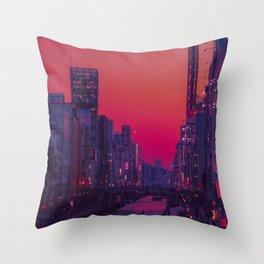 Dotonbori Dusk Throw Pillow