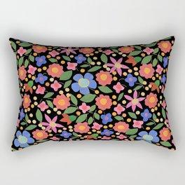 Folk Art Style Floral Rectangular Pillow