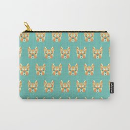Geo Frenchie - Teal & Orange Carry-All Pouch