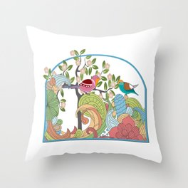 Graphic Pastel Song Birds and Forest Throw Pillow