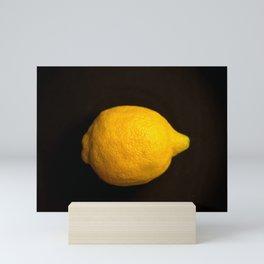 Yellow Lemon On A Black Background #decor #society6 Mini Art Print