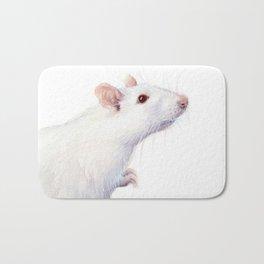 White Rat Watercolor Albino Rat Animal Bath Mat