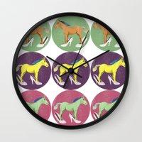 horses Wall Clocks featuring Horses by Lorenza Bluetiz