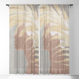 Woman with Golden Palm Leaf Sheer Curtain