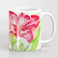 hot pink Mugs featuring Hot Pink by Kate Havekost Fine Art