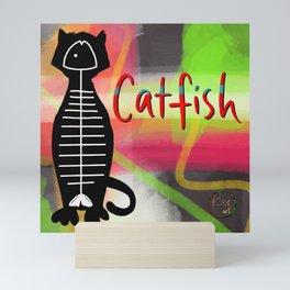 Catfish Skeleton Cat Mini Art Print