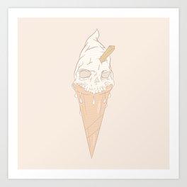 Ice cream skull light Art Print