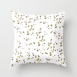 Modern abstract pink gold confetti pattern Throw Pillow