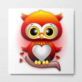 Baby Owl Love Heart Cartoon  Metal Print