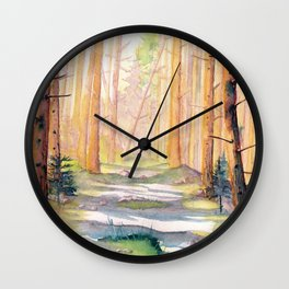 Down The Forest Path Wall Clock